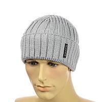 Мужская шапка  с отворотом 2*2
