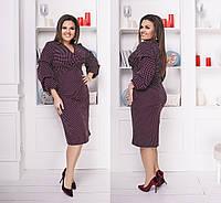 Красивое женское силуэтное платье ниже колен с красивым рукавом фонариком 48-50, 52-54, 56-58