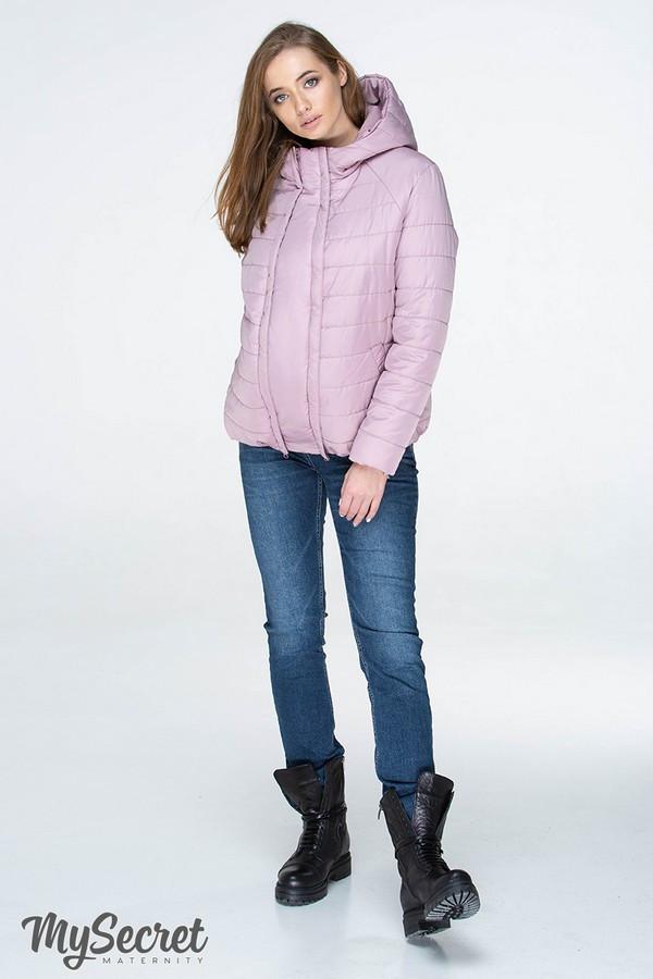 Демисезонная короткая куртка для беременных MARAIS OW-19.013, серо-розовая
