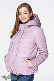Демисезонная короткая куртка для беременных MARAIS OW-19.013, серо-розовая, фото 3