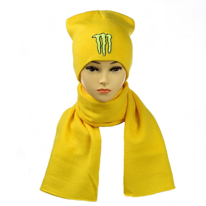 """Набор Шапка+Шарф """"Monster"""" желтый"""