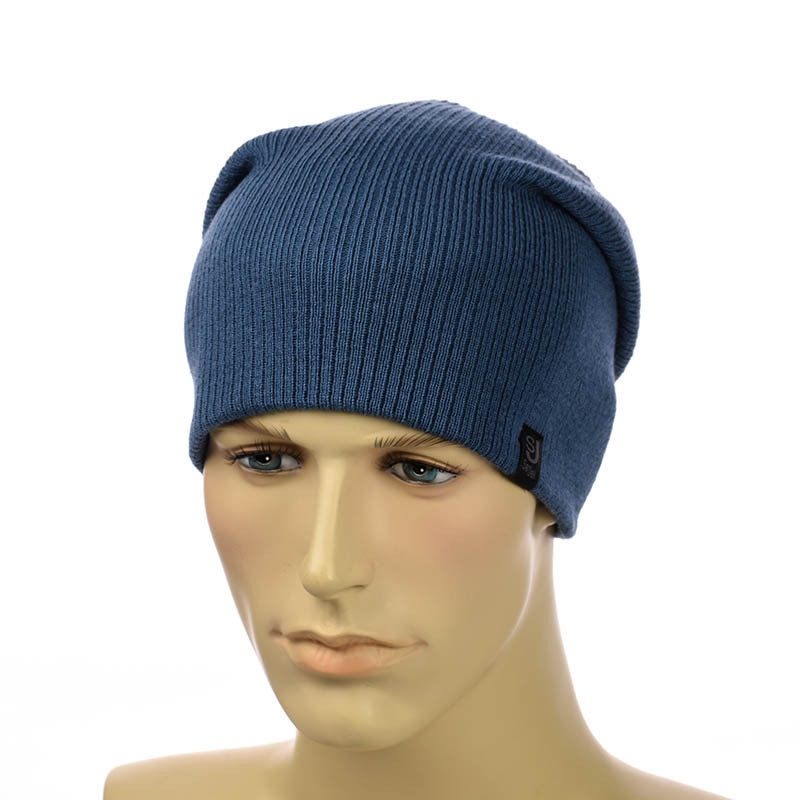 Вязаная шапка-чулок джинсовый