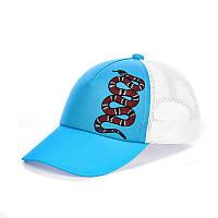 Кепка с сеткой - Gucci snake синий голубой