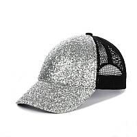Кепка - Бейсболка с крупными блестками Серебро на Черном