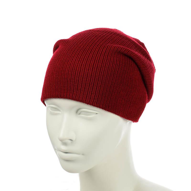 Вязаная шапка-чулок красный