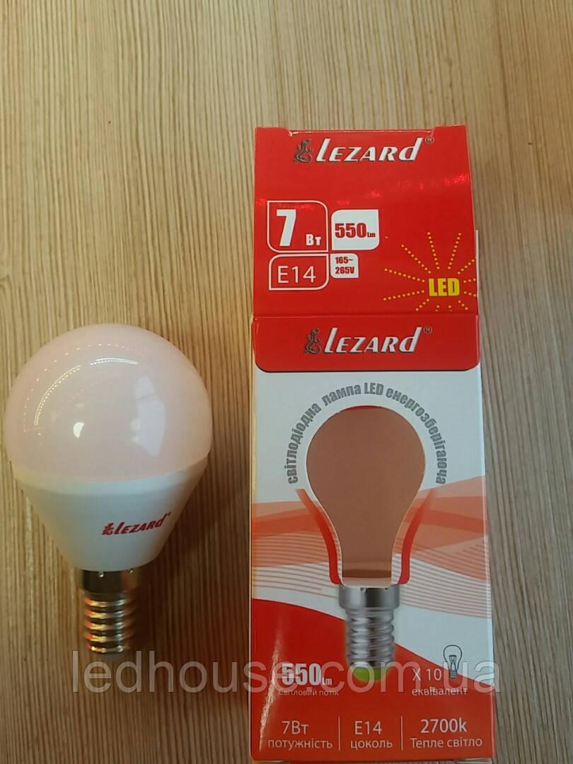 Светодиодная лампа Шар 7W Е14 2700k Lezard