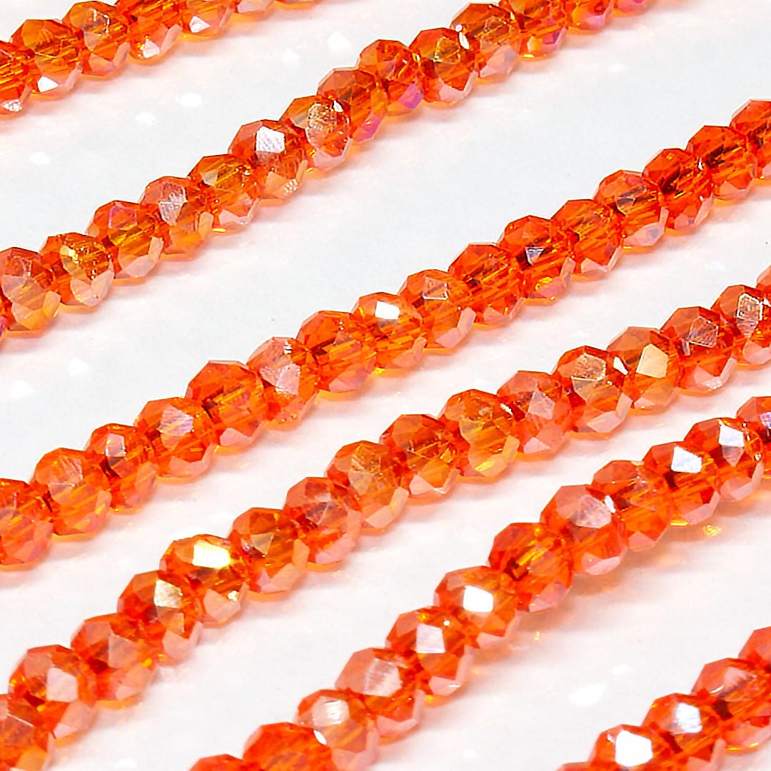 Бусины хрустальные (Рондель)  2х2мм пачка - 180-190 шт, цвет - оранжевый прозрачный с АБ
