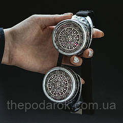 Очки Гогглы в стиле стимпанк узор (Серебро) Премиум