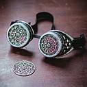 Очки Гогглы в стиле стимпанк узор (Серебро) Премиум, фото 2