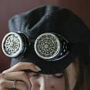 Очки Гогглы в стиле стимпанк узор (Серебро) Премиум, фото 4