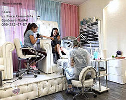 Педикюрное кресло Трон Ice Queen, подставка для экспресс маникюра под Трон, стульчик мастера педикюра ZD-2118, стульчик мастера Florina, тележка косметологическая Estet 3.