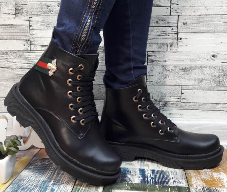 Gucci стильные кожаные черные ботиночки  весна осень 2020! из натуральной кожи в стиле гуччи ! удобная подошва