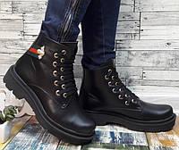 Gucci стильные кожаные черные ботиночки  весна осень 2020! из натуральной кожи в стиле гуччи ! удобная подошва, фото 1