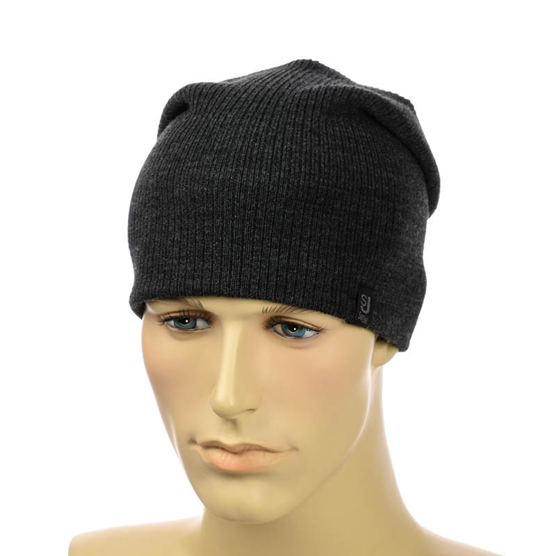 Вязаная шапка-чулок темно-серый
