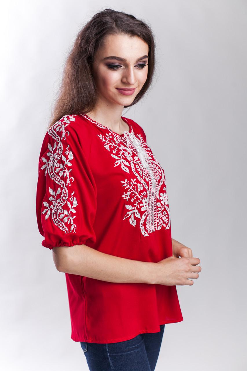 "Красная блуза вышиванка женская ""Волна"""