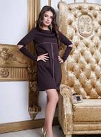 Стильное платье свободного ровного кроя шоколадного цвета, платье красивое молодежное, фото 1