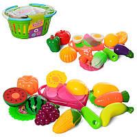 Игровой набор продукты на липучке - овощи или фрукты, досточка, нож, в корзинке 24-11-18 см