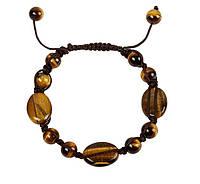 Авторский браслет Шамбала из натурального камня Тигрового глаза