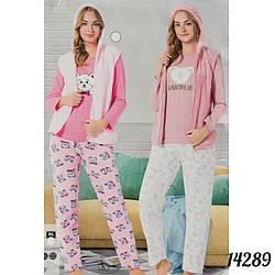 """Пижама женская """"Soft"""": кофта, жилетка и штаны Мишка FANCY Турция 14289L.pink"""