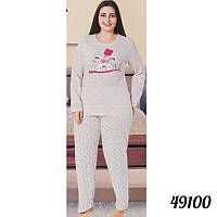 efdf5491fcb83 Теплая пижама женская батальная на байке COTTON MORE Турция 49100