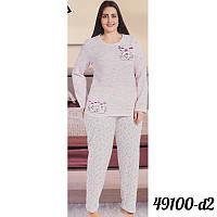 Розовая пижама женская батальная на байке оптом COTTON MORE Турция 49100-D-2 09716f2ebd578