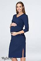 Трикотажное платье для беременных и кормящих PAM DR-19.011, синее, фото 1