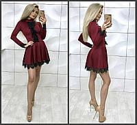 Красивое платье с кружевом  мини