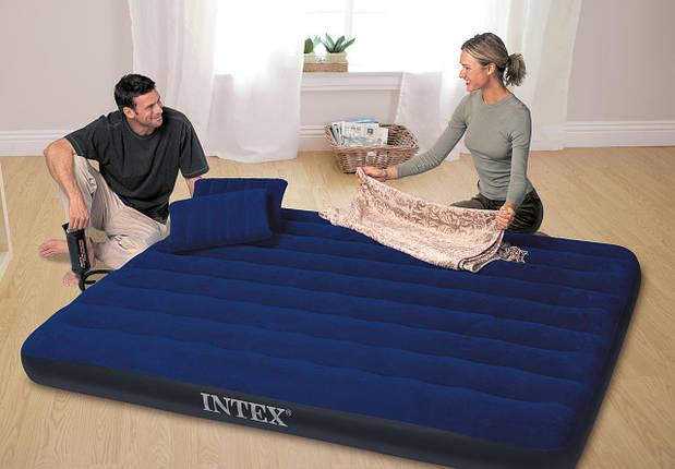 Надувной матрас Intex 64765 с насосом и подушками (152х203х25 см.), фото 2