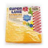 Салфетка целлюлозная Super Luxe, 15 см х 16 см, упаковка — 3 шт