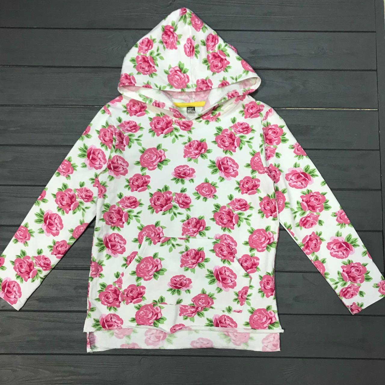 Кофта с капюшоном тёплая для девочек-подростков оптом р.9-13 лет