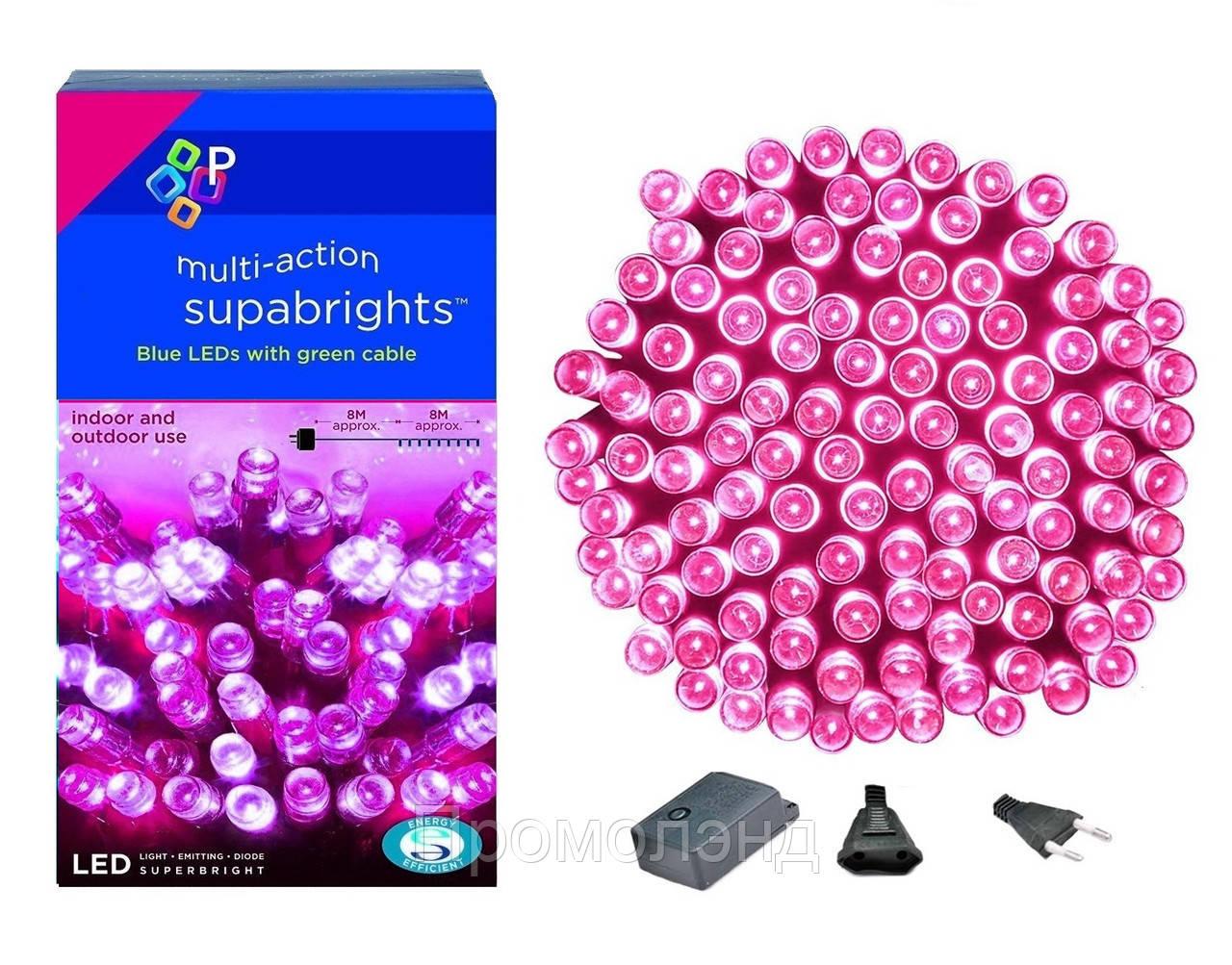 Новогодняя гирлянда 200 LED, Длина 16m, Розовый свет