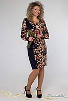 Темно-синее платье с длинным рукавом / Размер 50, 52 / Код 1267 повседневное платье, Миди, Длинный, XXL, нет, 50, Весна/осень, Классический,