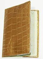 Обложка на документы женская лаковая песочная искусственная кожа, фото 1