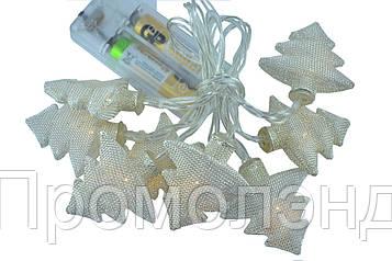 """Новогодняя гирлянда """"Елки"""" 8 LED, Белый теплый свет, на пальчиковых батарейках"""