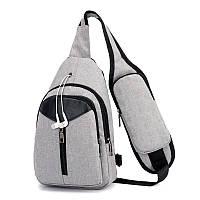 Сумка-рюкзак мужская на одно плечо с USBкабелем серого цвета, фото 1