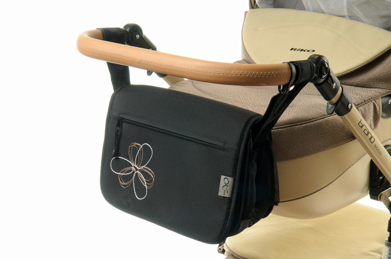 Сумка на коляску Ok Style  Черная Цветок бело-бежевый