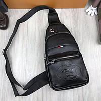 e297f7a40989 Трендовая мужская сумка бананка Prada черная слинг через плечо кожа ПУ  унисекс Прада премиум реплика