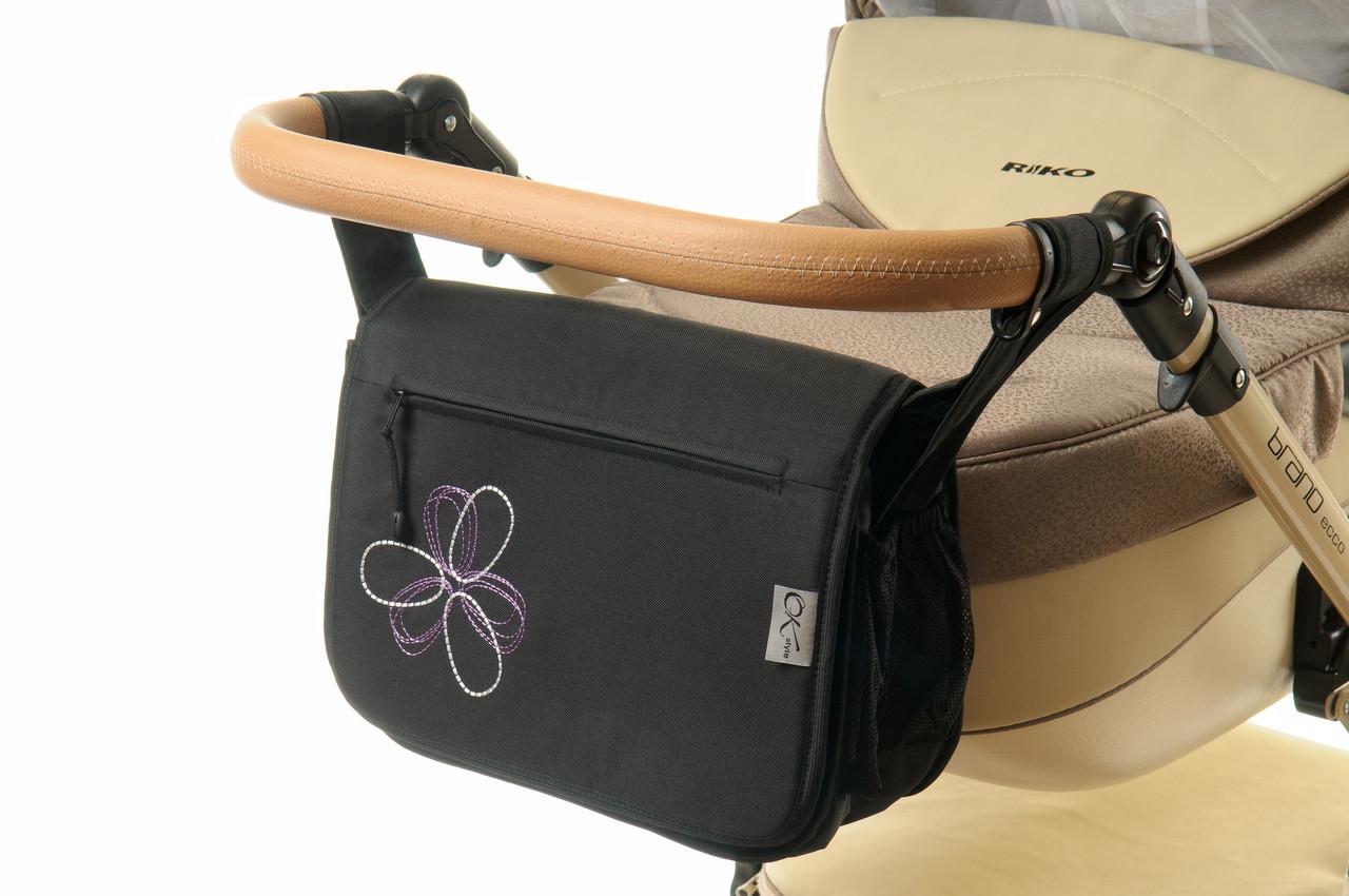 Сумка на коляску Ok Style  Черная Цветок бело-сиреневый