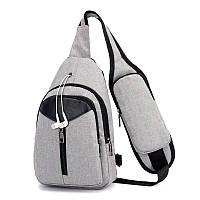 Мужская сумка-рюкзак на одно плечо серого цвета опт, фото 1