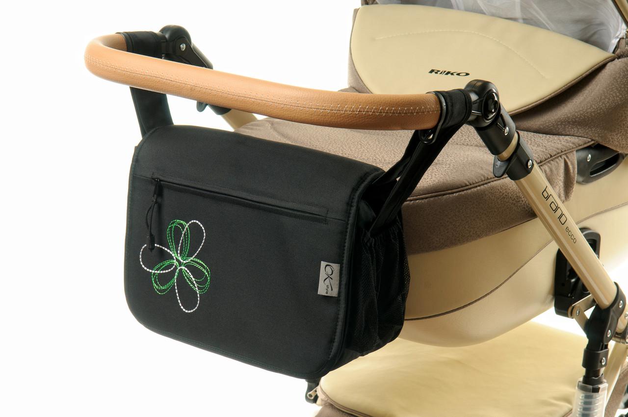 Сумка на коляску Ok Style  Черная Цветок бело-салатовый