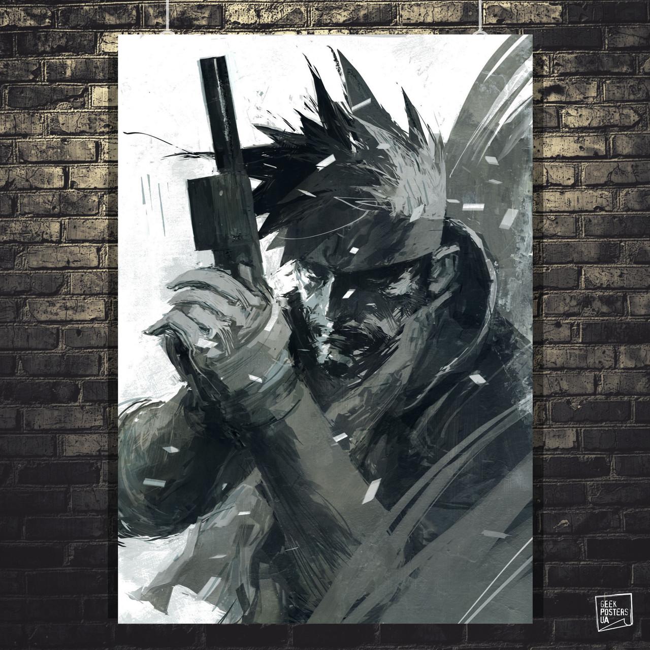 "Постер ""Metal Gear. Солид Снейк (Solid Snake). Минималистичный"". MGS. Размер 60x43см (A2). Глянцевая бумага"