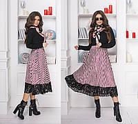 d97f592fc1a Женское приталенное платье юбка из бархата с завышенной талией и отделкой  из гипюра 42-44