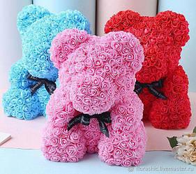 Розовый Мишка из роз Teddy из цветов 40 см в коробке медведь голубой