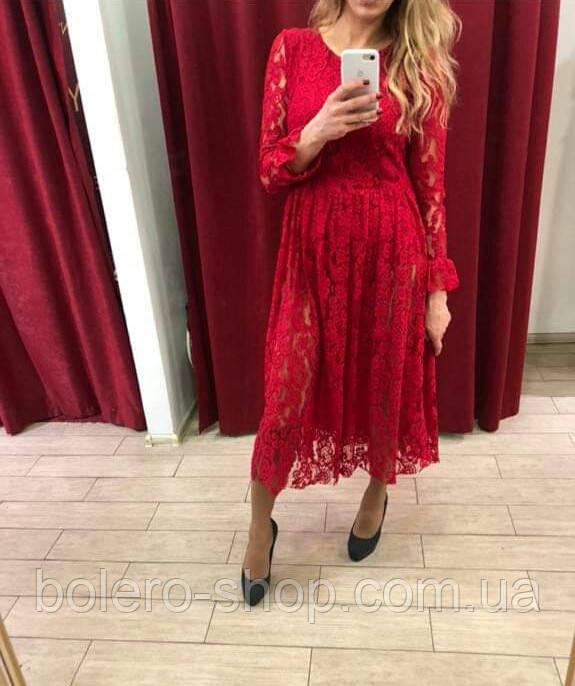 Платье красное  ажурное Италия