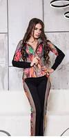 Гламурный костюм со вставками из крупной сетки, костюм женский прогулочный яркий городского стиля, фото 1