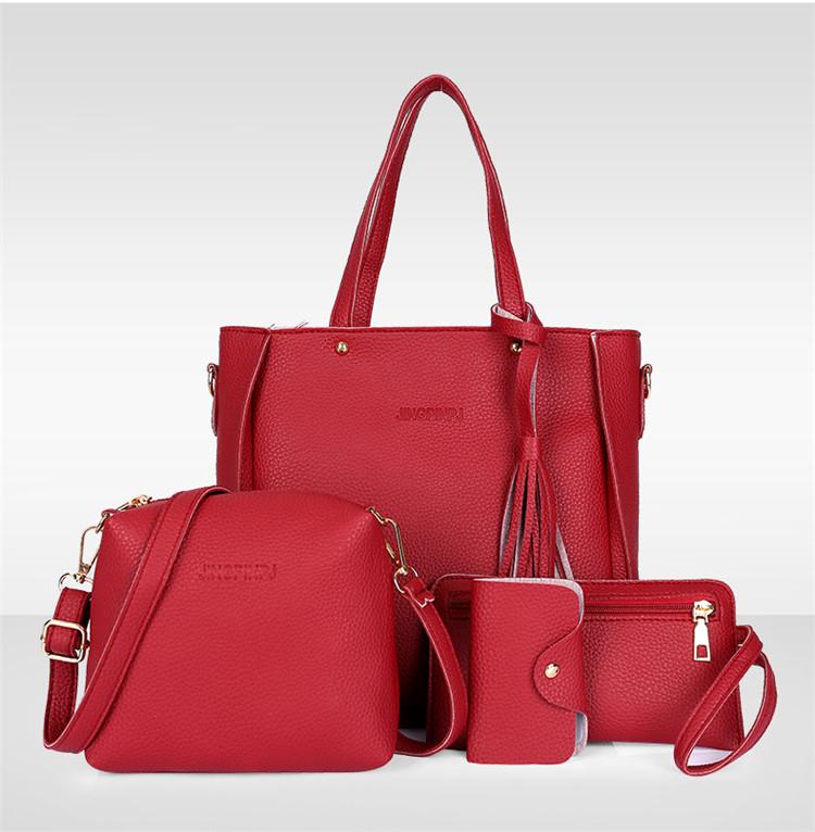 Трендовая женская сумка JingPin 4 в 1 Красная (сумка + клатч + кошелёк косметичка + визитница) AB-4