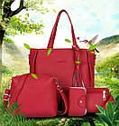Трендовая женская сумка JingPin 4 в 1 Красная (сумка + клатч + кошелёк косметичка + визитница) AB-4, фото 2