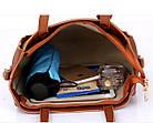Трендовая женская сумка JingPin 4в1 Коричневая (сумка + клатч + кошелёк косметичка + визитница) 01062, фото 5