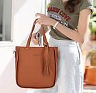Трендовая женская сумка JingPin 4в1 Коричневая (сумка + клатч + кошелёк косметичка + визитница) AB-5, фото 3