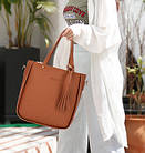 Трендовая женская сумка JingPin 4в1 Коричневая (сумка + клатч + кошелёк косметичка + визитница) 01062, фото 2